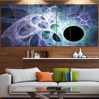 Designart 'Light Blue Fractal Angel Wings' Abstract Wall Art Canvas