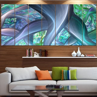 Designart 'Blue Fractal Exotic Plant Stems' Abstract Wall Art on Canvas
