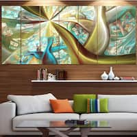Designart 'Golden Fractal Exotic Plant Stems' Abstract Wall Art on Canvas