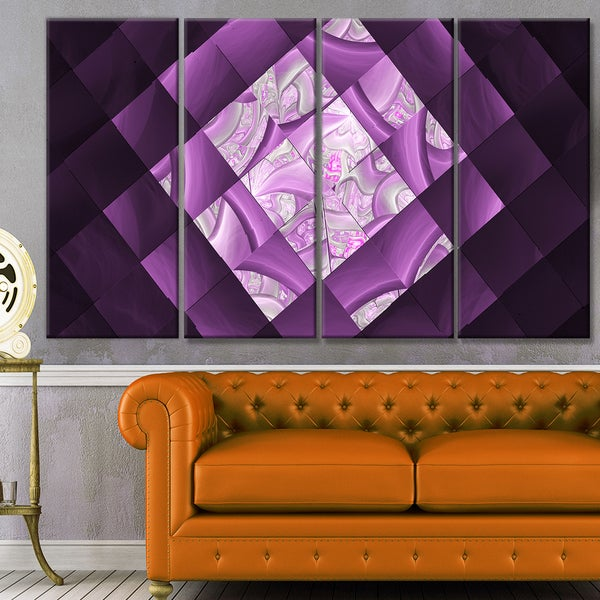 Designart \'Purple Pixel Field of Squares\' Abstract Wall Art Canvas ...