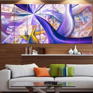 Designart 'Purple Gold Fractal Plant Stems' Abstract Wall Art on Canvas