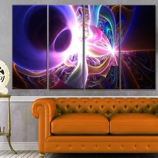 Designart 'Glowing Purple Design on Black' Abstract Wall Art Canvas