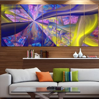 Designart 'Purple Yellow Fractal Curves' Abstract Wall Art on Canvas