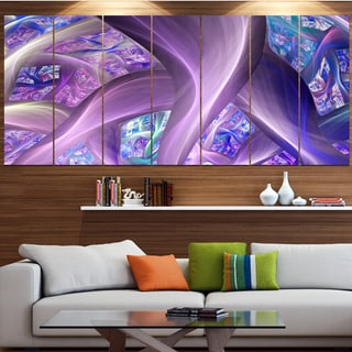 Designart 'Purple Blue Fractal Curves' Abstract Wall Art on Canvas