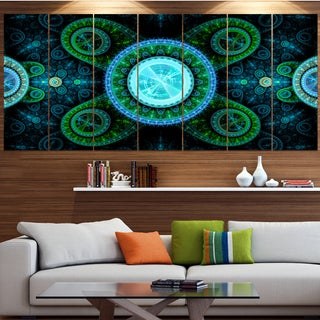 Designart 'Bright Blue Psychedelic Relaxing Art' Abstract Wall Art on Canvas