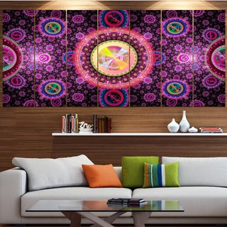 Designart 'Bright Pink Psychedelic Relaxing Art' Abstract Wall Art on Canvas
