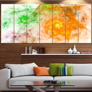 Designart 'Green Yellow Rotating Polyhedron' Abstract Wall Art on Canvas