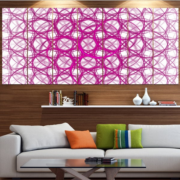 Designart 'Pink Unusual Metal Grill' Abstract Canvas Wall Art