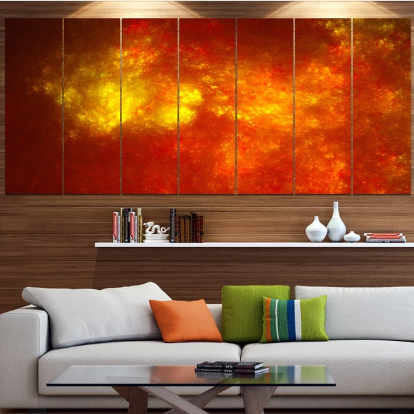 Designart 'Orange Starry Fractal Sky' Abstract Wall Artwork