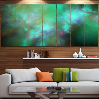 Designart 'Blue Fractal Sky with Blur Stars' Abstract Artwork on Canvas