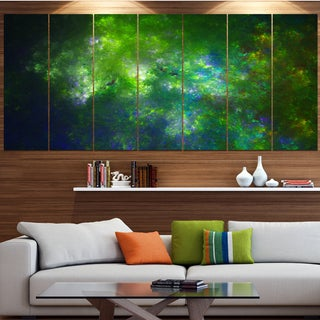 Designart 'Green Fractal Sky with Blur Stars' Abstract Artwork on Canvas