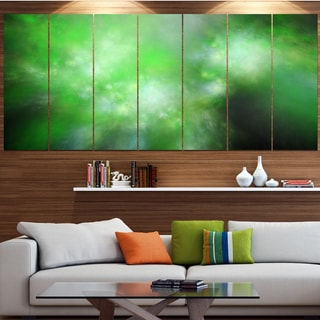Designart 'Green Blur Sky with Stars' Abstract Artwork on Canvas