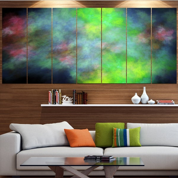 Designart 'Green Blue Sky with Stars' Abstract Artwork on Canvas