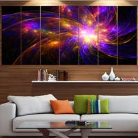 Designart 'Purple Fractal Star Pattern' Abstract Artwork on Canvas