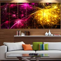 Designart 'Yellow Pink Colorful Fireworks' Abstract Artwork on Canvas