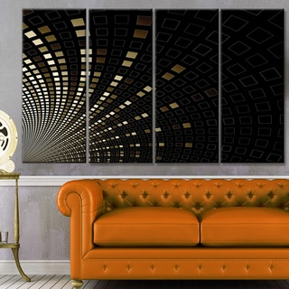 Designart 'Gold Square Pixel Mosaic on Black' Abstract Art on Canvas