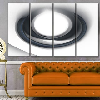 Designart 'Large Fractal Black Circle on White' Abstract Wall Art Canvas