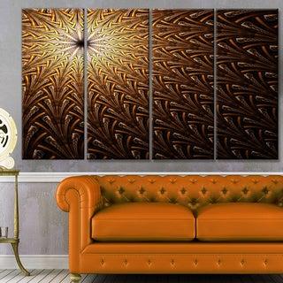 Designart 'Dark Orange Fractal Flower Pattern' Abstract Wall Art Canvas