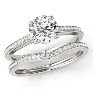 Scintilenora Classic Cathedral Certified Diamond Bridal Wedding Set 18k Gold 1 1/2 TDW