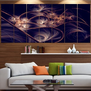 Designart 'Dark Gold Fractal Flower Pattern' Abstract Canvas Art Print