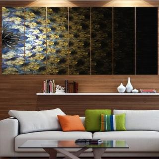 Designart 'Symmetrical Gold Fractal Flower' Abstract Wall Art Canvas