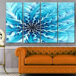 Designart 'Light Blue Fractal Flower Pattern' Abstract Wall Art Canvas
