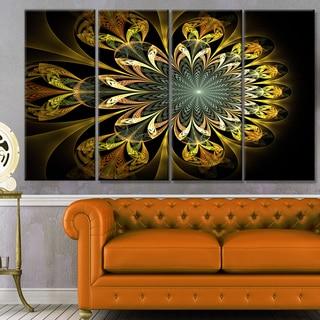 Designart 'Dark Yellow Digital Flower' Abstract Wall Art Canvas