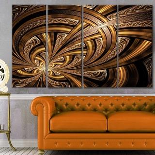 Designart 'Dark Orange Fractal Flower' Abstract Wall Art Canvas