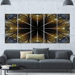 Designart 'Symmetrical Gold Fractal Flower' Abstract Wall Art on Canvas