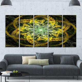 Designart 'Yellow and Green Fractal Flower' Abstract Wall Art on Canvas
