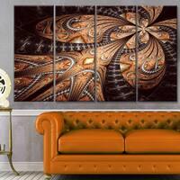 Designart 'Brown Symmetrical Fractal Flower' Abstract Wall Art on Canvas