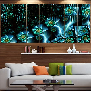 Designart 'Bright Blue Fractal Flowery Sky' Abstract Wall Art Canvas