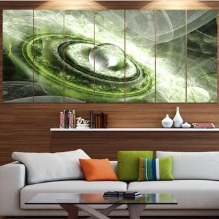 Designart 'Green Fractal Flying Saucer' Abstract Wall Art on Canvas