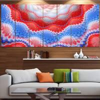 Designart 'Red Blue Snake Skin Flower' Abstract Art on Canvas