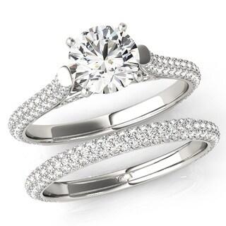 Scintilenora MultiRow Cathedral Certified Diamond Bridal Wedding Set 18k Gold 2 1/4 TDW