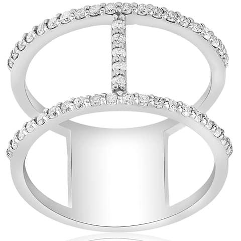 14K White Gold 1 ct TDW Fashion Diamond H Wide Right Hand Ring (G-H,I1-I2) - White G-H