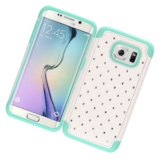 Insten White/ Mint Green Hard Snap-on Rubberized Matte Case Cover with Diamond For Samsung Galaxy S7 Edge
