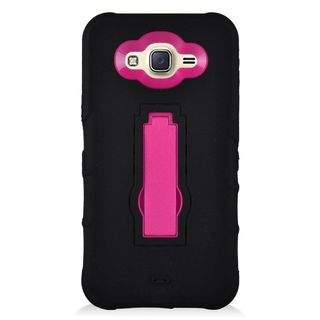 Insten Black/ Hot Pink Symbiosis Soft Silicone/ PC Rubber Case Cover with Stand For Samsung Galaxy J7 (2016)