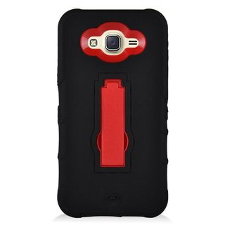 Insten Black/ Red Symbiosis Soft Silicone/ PC Rubber Case Cover with Stand For Samsung Galaxy J7 (2015)