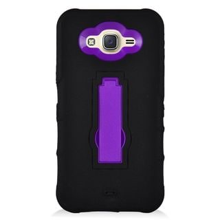 Insten Black/ Purple Symbiosis Soft Silicone/ PC Rubber Case Cover with Stand For Samsung Galaxy J7 (2015)