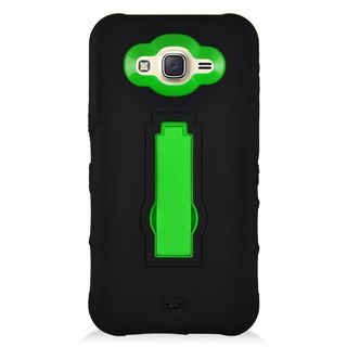 Insten Black/ Green Symbiosis Soft Silicone/ PC Rubber Case Cover with Stand For Samsung Galaxy J7 (2015)