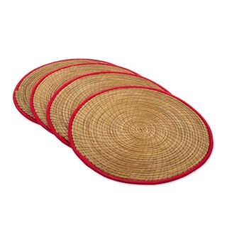 Handmade Set of 4 Pine Needle Placemats, 'Latin Mealtime In Red' (Guatemala)