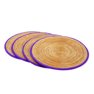 Handmade Set of 4 Pine Needle Placemats, 'Latin Mealtime In Purple' (Guatemala)