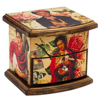 Decoupage Wood Chest, 'Florid Frida' (Mexico)
