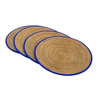 Handmade Set of 4 Pine Needle Placemats, 'Latin Mealtime In Blue' (Guatemala)