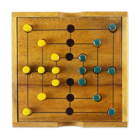 Handmade Wood Game, 'Strategy Square' (Thailand)