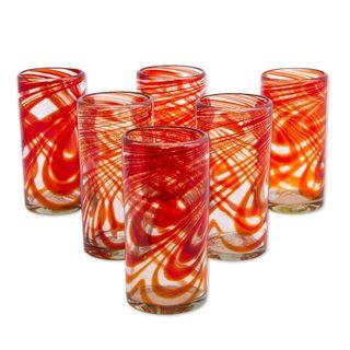 Set of 6 Blown Glass Highball, 'Crimson Serpentines' (Mexico)