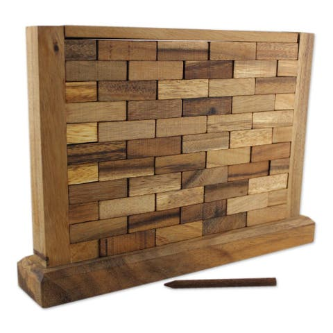 Handmade Wood Game, 'Stacking Wall' (Thailand)