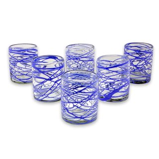 Handmade Set of 6 Blown Glass Rock Glasses, 'Sapphire Swirl' (Mexico)