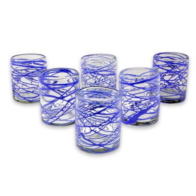 NOVICA Set of 6 Blown Glass Rock Glasses, 'Sapphire Swirl' (Mexico)